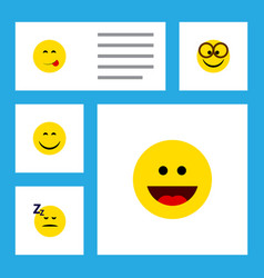 Flat icon expression set of smile laugh vector