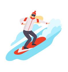 flat snowboarding woman vector image