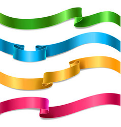 Flowing satin or silk ribbons collection vector