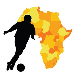 Football player with map of africa vector image