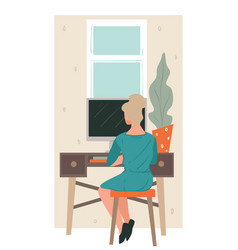 freelancer working at home woman with computer vector image