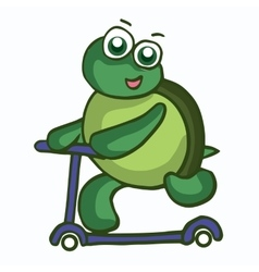 Funny Turtle with scooter vector