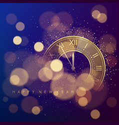 golden clock dial with roman numbers on magic vector image