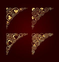 Golden ornamental calligraphic corners vector