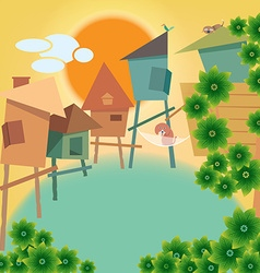Greeting card with small village and animal vector image