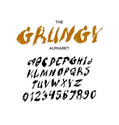 grunge textured font handmade alphabet stamp vector image