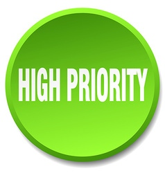 High priority green round flat isolated push vector