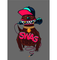 Hip-hop poster with dog rap music swag culture vector