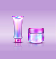 Holographic cosmetics pack iridescent tube and jar vector