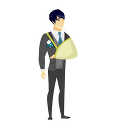 Injured groom with broken arm vector