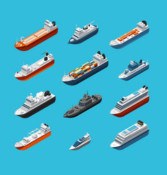 Isometric 3d military and passenger ships boat vector