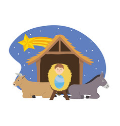 Jesus between donkey and mule in the manger with vector