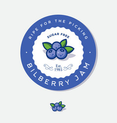 Label for bilberry jam berries vector