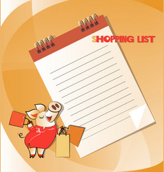 list of shopping and funny pig vector image