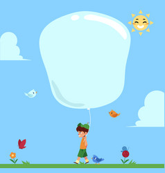 little boy walking in natural park with big hot vector image