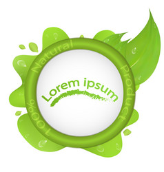 Logo 100 natural product with green leaf and vector