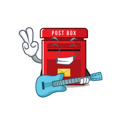 Mailbox with a with guitar mascot vector
