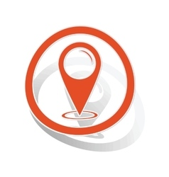 Map pointer sign sticker orange vector image
