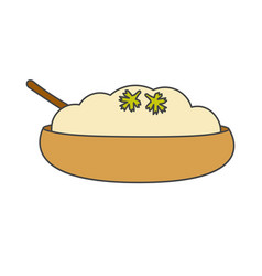 Mashed potatoes with herbs in bowl icon vector