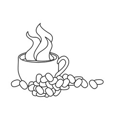 monochrome contour with hot cup of coffee and vector image