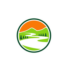 Mountain lake nature icon logo vector