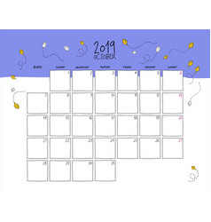 october 2019 wall calendar doodle style vector image