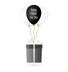 One big gray gift package soaring with helium vector