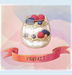 parfait dessert with berries icon cartoon vector image