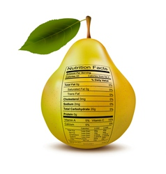 Pear with nutrition facts label concept healthy vector