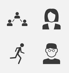 Person icons set collection of network running vector