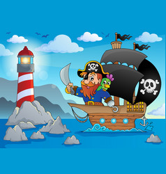 Pirate ship theme image 2 vector