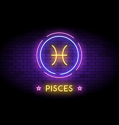 pisces zodiac symbol in neon style on a wall vector image