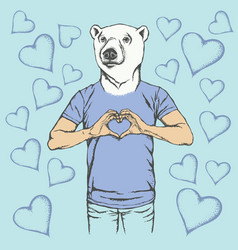 polar bear valentine day concept vector image