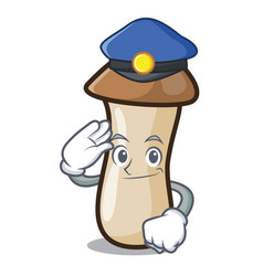 Police pleurotus erynggi mushroom character vector