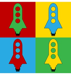 Pop art starting rocket icons vector image