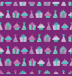 purple birthday items seamless pattern vector image