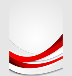 Red corporate waves abstract flyer background vector