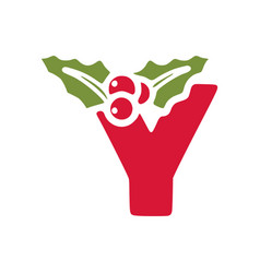 Red letter y with mistletoe christmas lettering vector