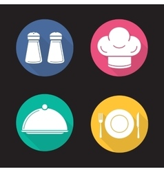 Restaurant kitchen items icons vector