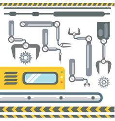 robotic hands automatic assembly machinery vector image