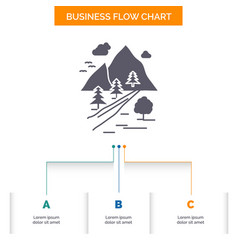 rocks tree hill mountain nature business flow vector image