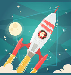 santa claus flying in space rocket in sky with vector image