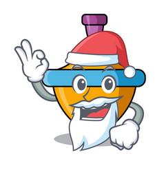 Santa spinning top mascot cartoon vector