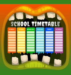 school timetable in halloween monster mouth frame vector image