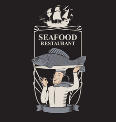Seafood restaurant with chef fish and sailboat vector