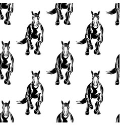 Seamless pattern with galloping horses vector