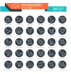 Set line icons husbandry vector