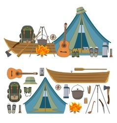 set of camping objects and tools isolated vector image