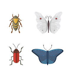 set of different insects in cartoon style vector image