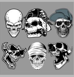 Set skull in hand drawing style vector